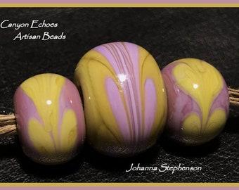 BIG HOLE Lilac Lampwork  Bead Set SRA Canyon Echoes Johanna Stephenson