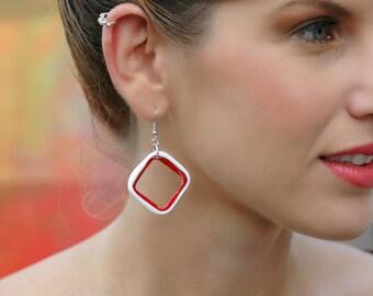 Valentine's Day Earrings, Geometric Earrings, Girlfriend Gift, Red and White Earrings, Dangle Earrings, Statement Earrings, Long Earrings