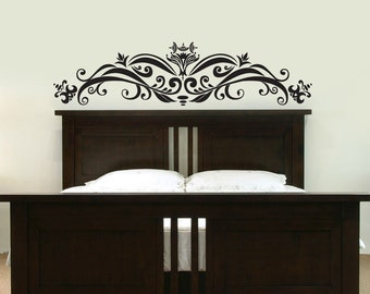 Ornate Headboard - Queen Size - Wall Decal - Your Choice of Color