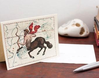 Printable Zodiac Sign Sagittarius Constellation Greeting Card Printable Digital File Instant Download Birthday Card PDF Download File