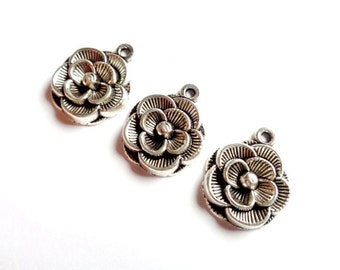 """Lot 3 antique silver flower metal charms, very nicely worked, 20 x 18 mm - 3 Tibetan silver flower charms finally crafted 0.7x0.78 """""""