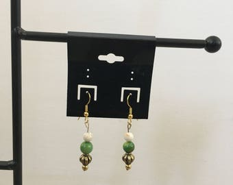 green and bronze dangle earrings