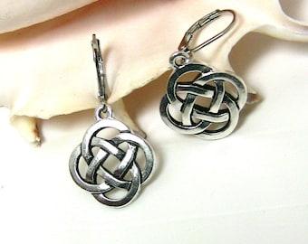 Celtic Earrings, Celtic Knot, Eternity Knot Earrings, Leverback, Irish Gift for Woman