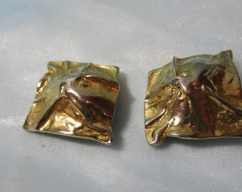 Large Square Gold  Metal Clip on Earrings