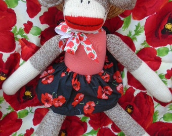 Pretty Poppy Flower Girl Sock Monkey Doll In A Field Of Poppies
