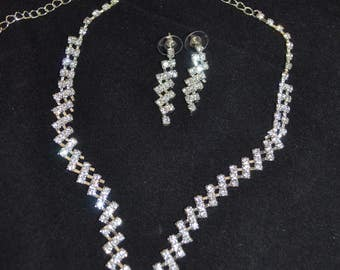 Bridal jewelry set, Necklace and  Earring, Crystals, Costume Jewelry Wedding Set