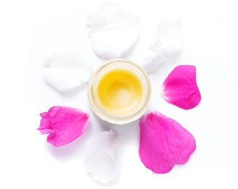 Wild Rose Balm, Beauty Balm, Organic Moisturizing Salve in 1 oz glass jar