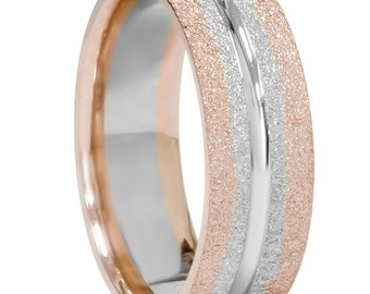 Mens Two Tone Wedding Band 14K Rose & White Gold Two Tone Mens 6MM Wedding Band Flat Ring Brushed Finish Size 7-12