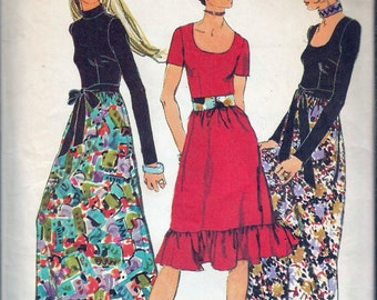 Vintage 1971 Simplicity 9602 Evening Dress in Two Lengths Sewing Pattern Size 12 Bust 34""
