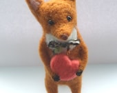 Needle Felted Fox with Heart, Nature, Woodland, Valentine's Day, Love