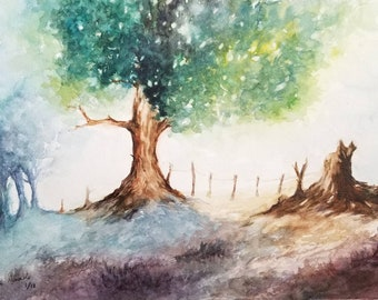 Landscape Large Original Watercolor Painting Handmade Art Wall Decor Trees Painting Forest Watercolor