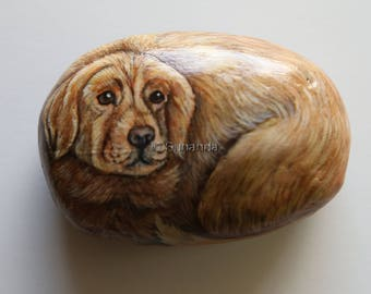 A Yellow Labrador Retriever Hand Painted on a Beach Rock | Unique and Realistic Hand Painted Rock Art by Sunanda Sarker