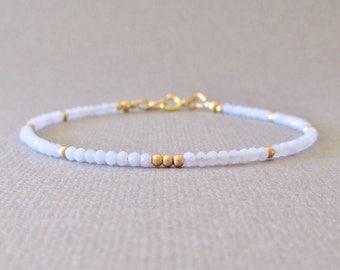 Delicate Blue Chalcedony Bracelet/ Blue Chalcedony Layering Bracelet/ Blue Chalcedony Friendship Bracelet/ Blue Chalcedony Bead Bracelet