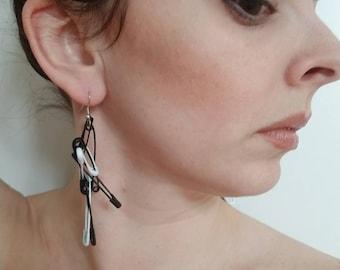 Safety pin earrings black and white cluster dangle earrings handmade earrings