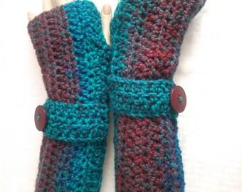 Crochet Fingerless Koralyne Gloves-Barcelona Blue