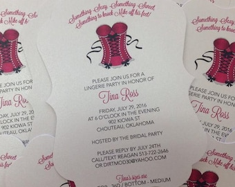 Lingerie Invitation Victorias Secret Invitation Victorias Secret Themed Victorias Secret Bridal Shower Lingerie Shower Corset Invitation