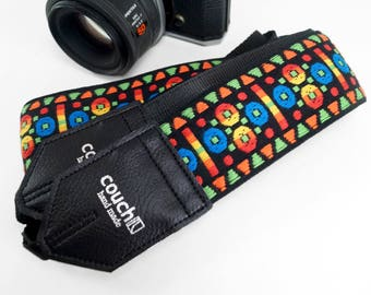 Aztec Geometry Churchglass Hippie Weave Camera Strap- Boho Hippie Ace Style