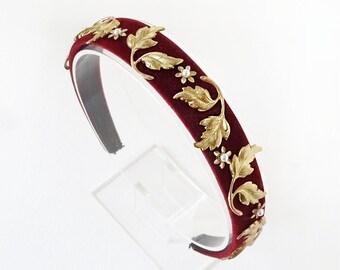 burgundy headband for women, fall hair accessories, velvet headband women, headbands for women, classic headband, leaf motif embellished