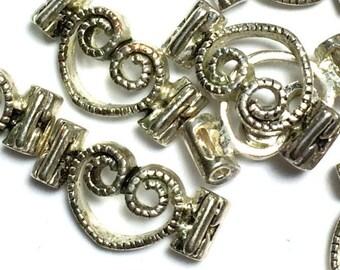 Double Hole Heart Slider Beads, Heart Bead, Silve Heart, Double-hole Slider, Metal Heart Bead