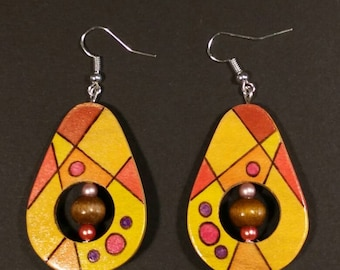 -Ash wood earrings and colorful