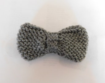 Gray Bow Tie, Clip On Hand Knitted Large Size