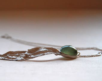 Long necklace with Prehnite and silver Willow leaf.