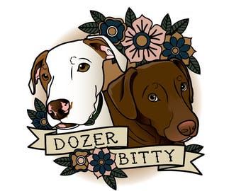 Custom 2 Pet Portraits Tattoo Flash Style PDF