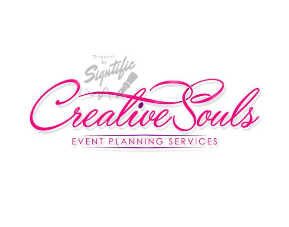 Small business logo custom events planning logo design pink