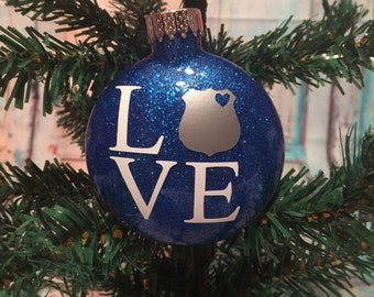 Personalized Police Badge Love Glitter Ornament