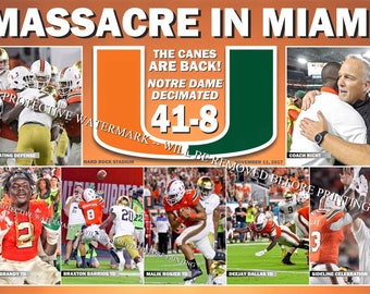 Miami Crushes Notre Dame, Aims for Top Ranking in College Playoffs Commemorative Poster