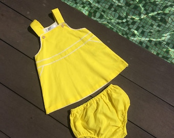 Girls dresses, trapeze dress, baby pinafore dress, spring dress, yellow dress, toddler Easter dress, rick rack dress, sleeveless dress