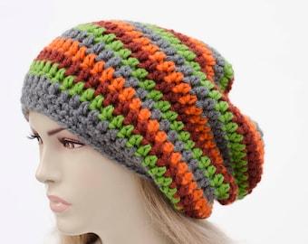 Crochet Striped woman  beanie hat winter slouchy