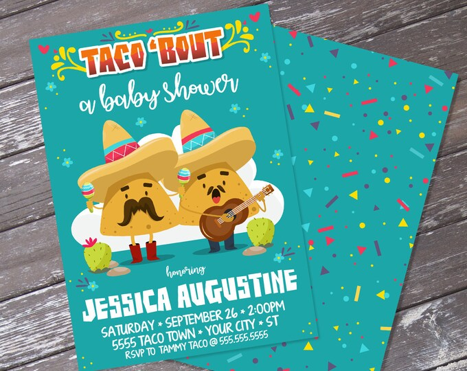 Taco 'bout... a Baby Shower Invitation - Cinco De Mayo, Fiesta Birthday Party | Editable Text - Instant Download PDF Printable