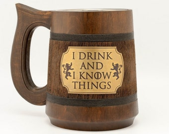 I drink and I know things Game of Thrones Mug  Game of Thrones Gift Tyrion Lannister inspired XMAS Gift XMAS Gift for him