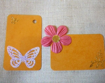 "Orange tags decorated on the theme ""heyday"" for scrapbooking - tags, set"
