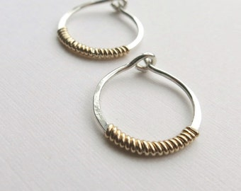 Small Silver Hoop Earrings with Gold Coils Mixed Metals