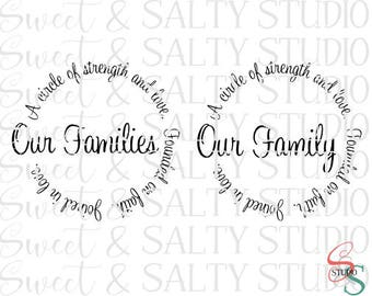 our family/families a circle of strength and love (2 versions included) digital file