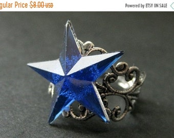 SUMMER SALE Star Ring. Blue Ring. Blue Star Ring. Silver Filigree Ring. Adjustable Ring. Handmade Ring. Handmade Jewelry.