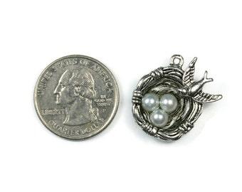 4 Antique Silver Bird's Nest Pendants - White Pearls