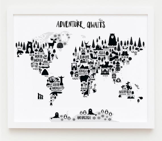 Animal world map print monochrome nursery world map like this item gumiabroncs Choice Image