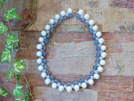 natural pearls and gemstones beaded necklace - ivory and gray