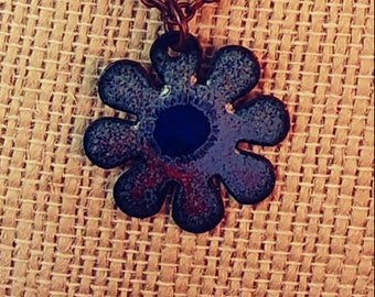 Copper Enameled Flower Necklace