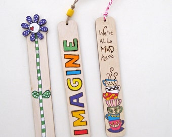 Bookmarks, wood burned bookmarks, set of 3 bookmarks,  unique gift for book lovers