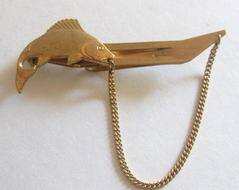 Fish Tie Clip Bar Anson Chain Vintage 1960's Men's Accessories Jewelry Free Shipping