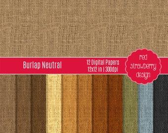 75% OFF Sale - Neutral Burlap - 12 Digital Papers - Instant Download - JPG 12x12 (DP170)