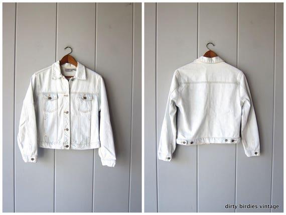 90s Chambray Jean Jacket   Light Wash Denim Jacket   Washed Out Denim Coat   Cropped Jean Jacket Hipster Boho Womens Medium