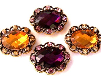 Amethyst and topaz 2 hole slider beads, purple and gold oval, sparkly faceted, 2 of each