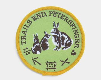 Vintage 1970s Trails End Petersfinger Patch - Wiltshire Dorset Hampshire New Forest scouts rabbit hare camping hiking souvenir travel scout