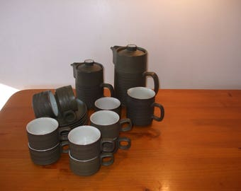 Denby Chevron Camelot 19 piece coffee/tea set - retro 1960's