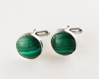 Round Green Malachite and Sterling Silver Cufflinks